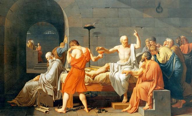 Resim 1. Ressam Jacques-Louis David'in 1787 yılında yaptığı Sokrates'in Ölümü tablosu